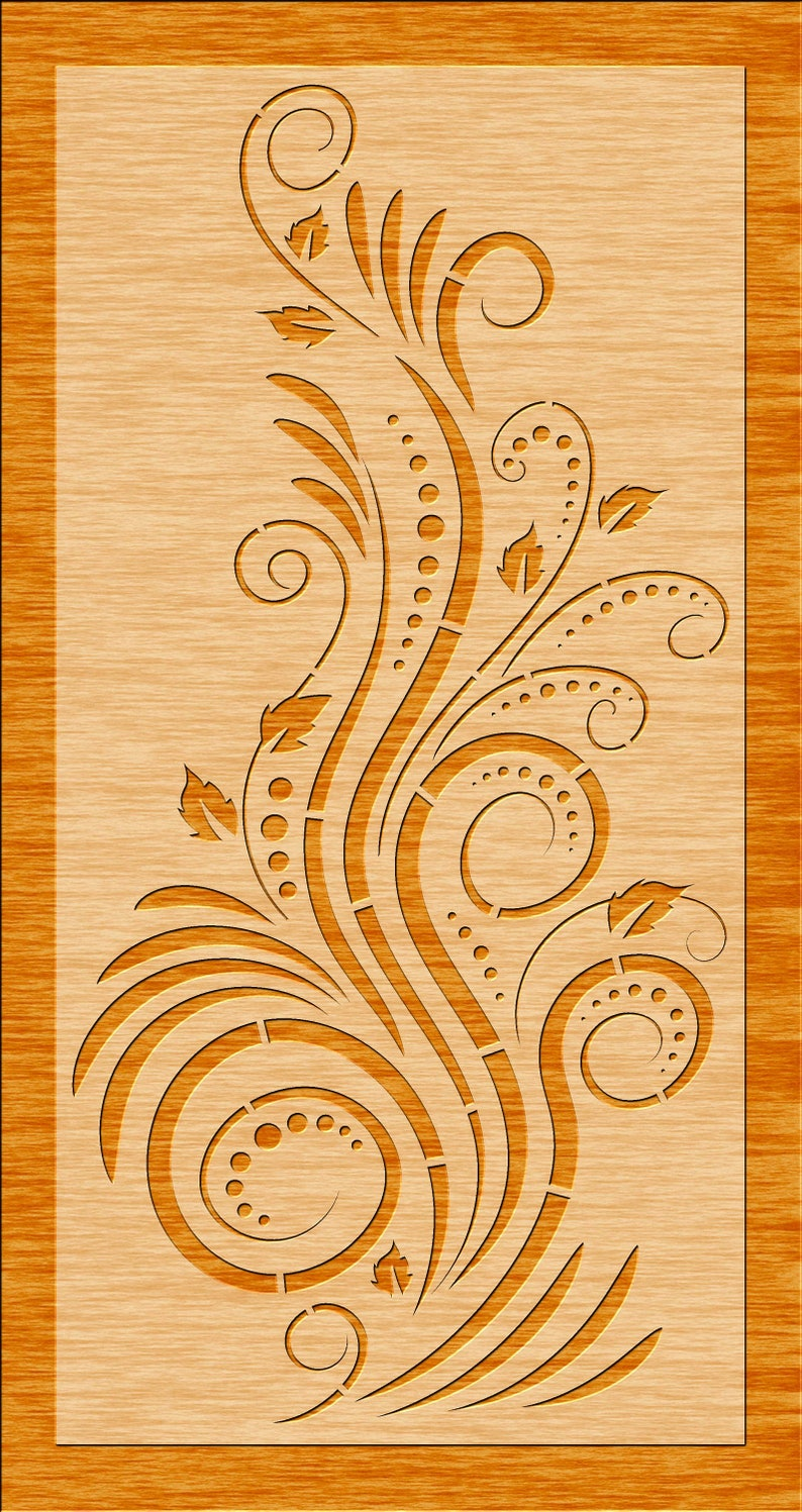 CNC Eps 6 Floral Decorative Panels Privacy Screen Room Divider JPG Laser Wall Hanging AI Plasma Cutting File Cdr Svg Dxf Stencil