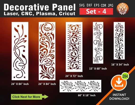 6 Decorative Panel Door Panels Stencil Templates Privacy Screen Wall Hanging Dxf Svg Jpg Cdr Ai Vector Laser Cut File
