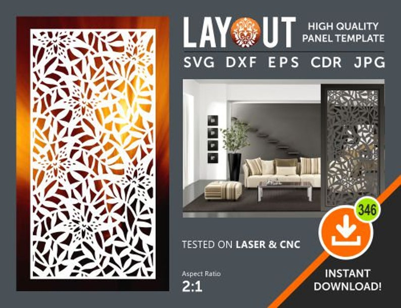 Dxf Svg Eps Ai Room Divider Jpg Laser Decorative Panel Plasma Wall Hanging Privacy Screen Cnc Stencil Cricut File Cdr