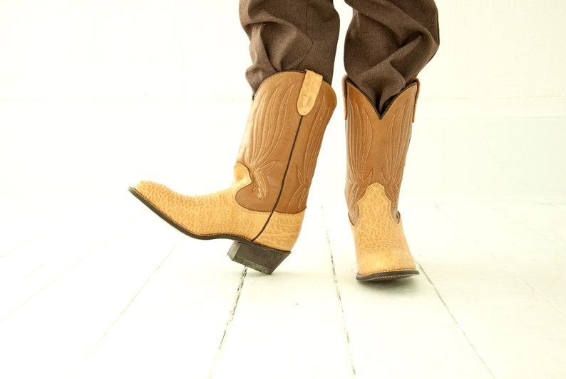 tan brown two-tone child children/'s Western boys girls shoes NOS deadstock 4.5 5 youth Vintage kids/' cowboy boots