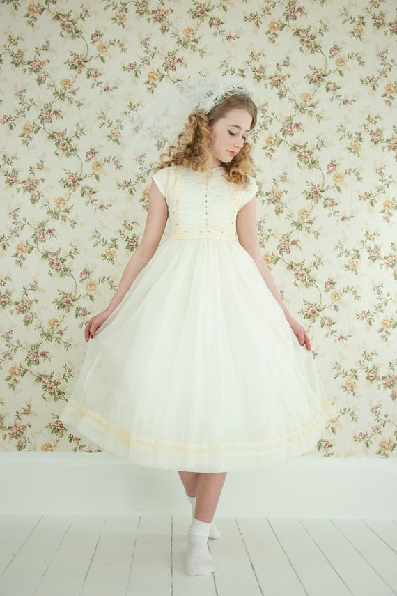 Vintage First Communion dress, off white ivory lace pearly beaded, short cap sleeve knee tea midi flower girl formal, fit flare girls 10 12