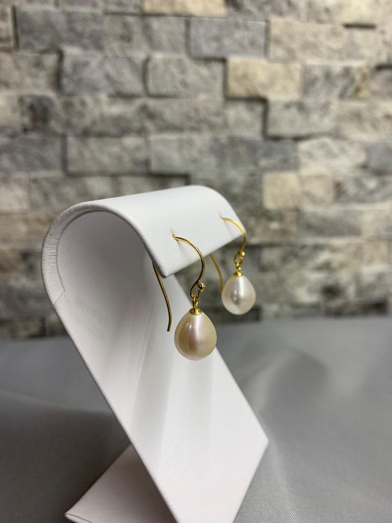 White Drop Shape Pearl Earrings