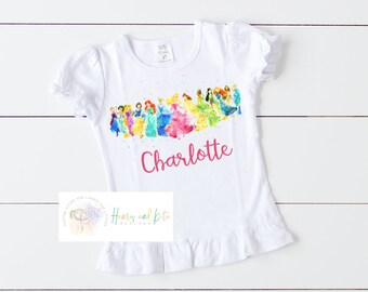 1fc0df33c Girl Disney Princess Shirt, Disney Watercolor Shirt, Disney Shirt, Disney Princess  Shirt, Watercolor Princess Shirt, Personalized Princess