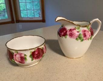 Old English Rose Large Cream and Sugar Set- Royal Albert