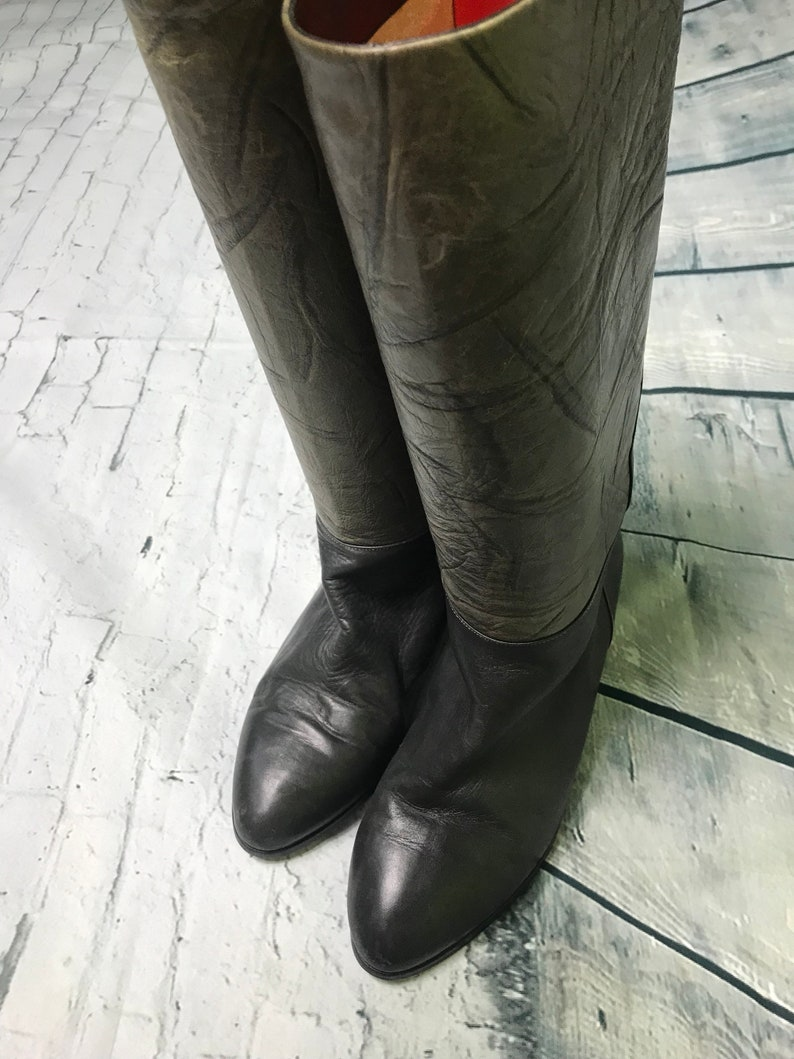 c2c30d7bc1958 Vintage Roland Cartier long boots leather size 6 green grey