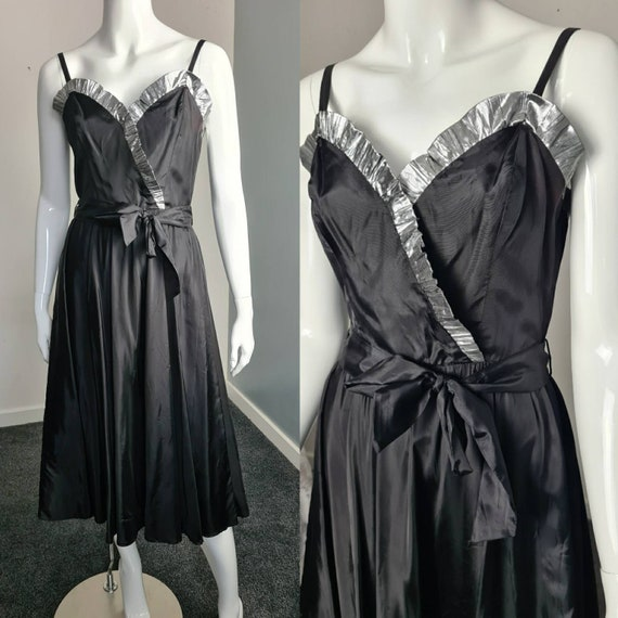 Vintage 70s RADLEY UK8 Black & Silver Party Dress