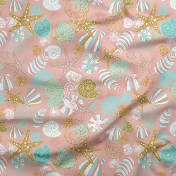 Mint Green//Gold Sparkle Metallic Stars Decor Nursery 100/% Cotton Fabric Sewing