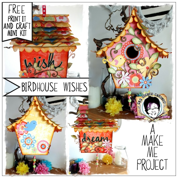 Make Me project, FREE craft kit included, Craft project, Printable craft, How to Craft kit, Birdhouse, Home Decor, Wishing House, Gift, PDF