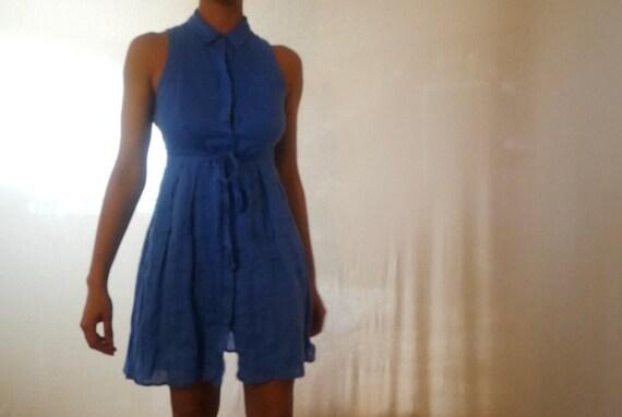 Blue Linen Dress w/ Front Ribbon