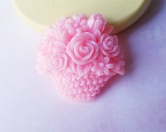 7694e294b501 Roses Basket Mold Mini Roses Mold fondant chocolate gum paste royal icing  for chocolate silicone mold for cakes rose cupcake topper
