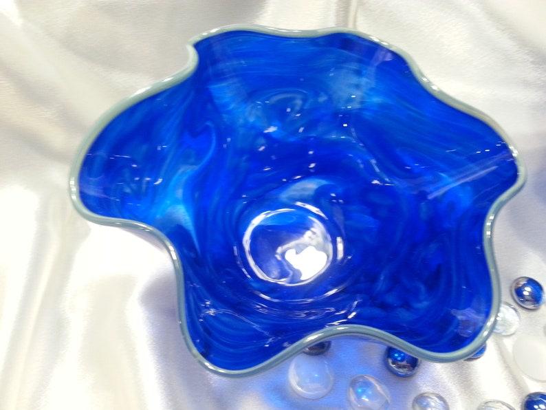 Small Blown Glass Bowl Beautiful Cobalt Blue.