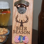 BEER SEASON - Magnetic Cap Catching Bottle Opener, Refrigerator or Wall Mounted Bottle Opener - The Cap Catcher Holds Over 40 Caps
