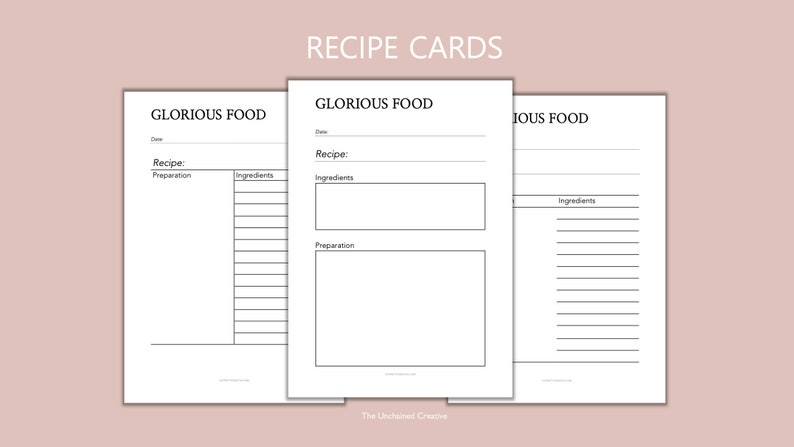 PRINTABLE RECIPE CARDS  Personal Planner  One Page Planner  image 0