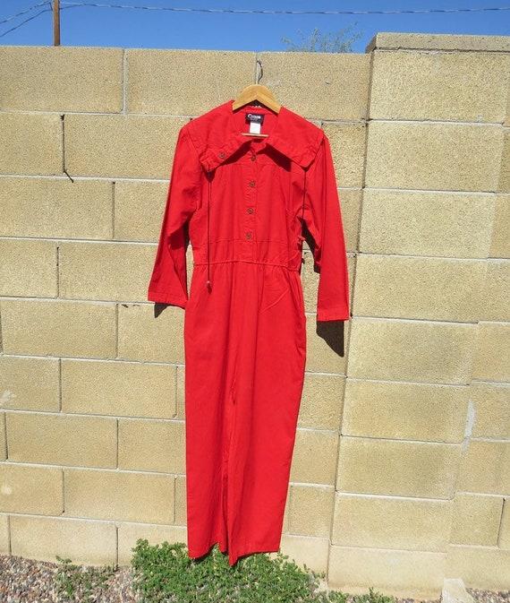Vintage 100% Cotton Red Jumpsuit