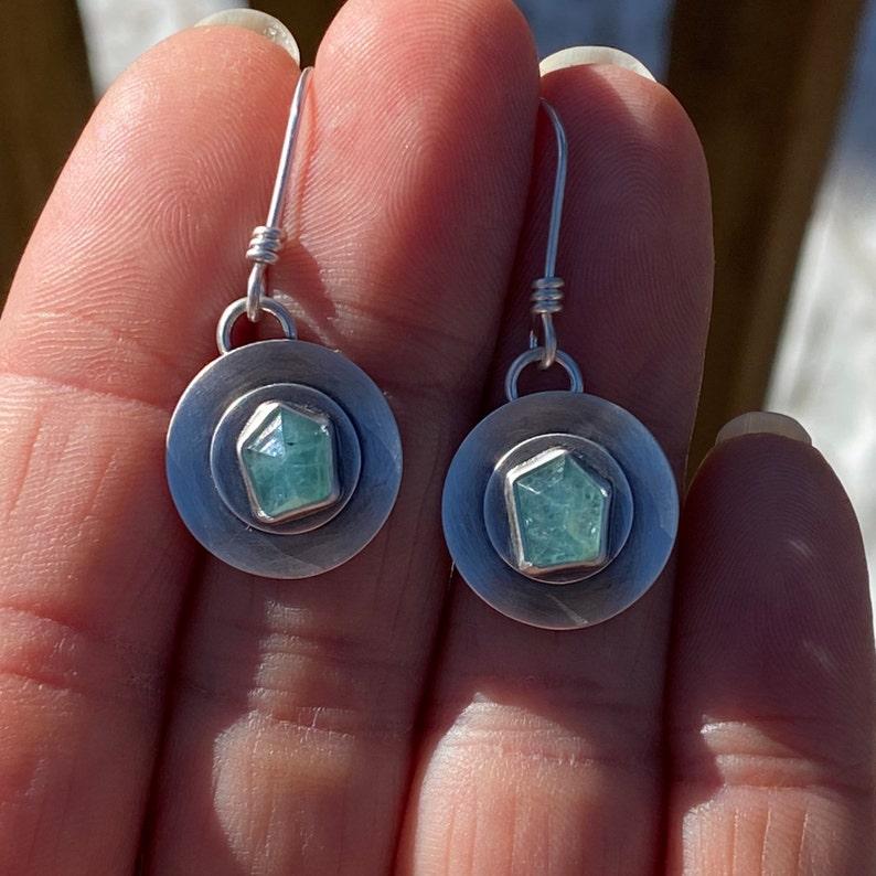 Rose Cut Geometric Grandidierite and Layered Sterling Silver Earrings
