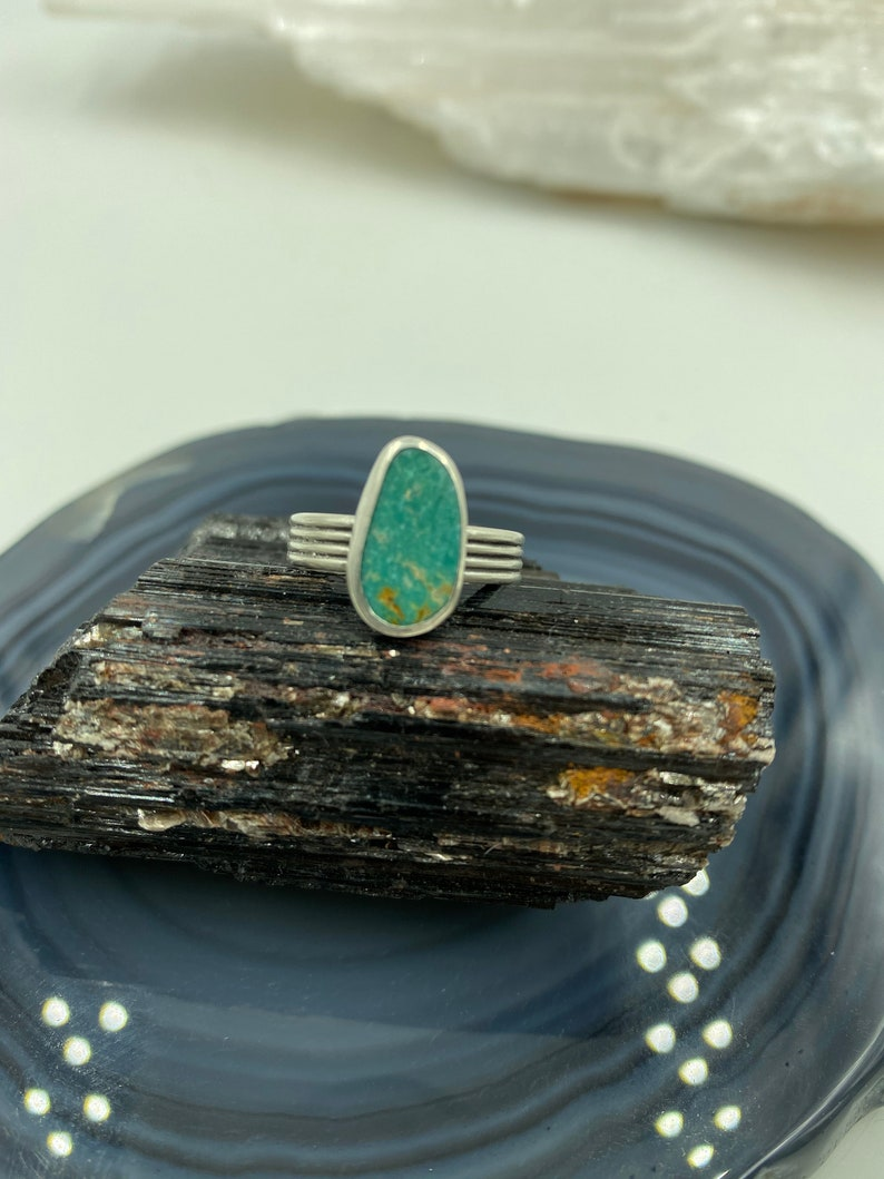 Size 6.5 Pilot Mountain Turquoise and Sterling Silver Band Ring