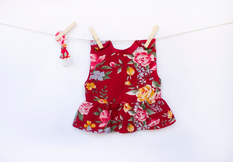 Baby girl peplum in floral print Linen tunic for little image 0