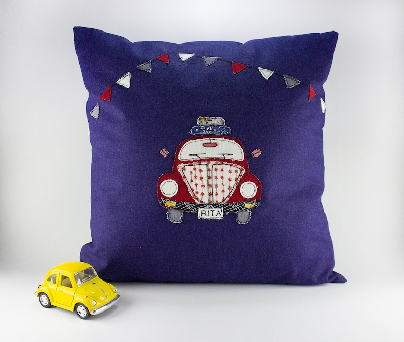 Applique Cushion Cover Gift Idea for Kids Navy Throw Pillow image 0