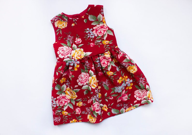 Baby linen dress in floral print Casual summer toddler dress image 0