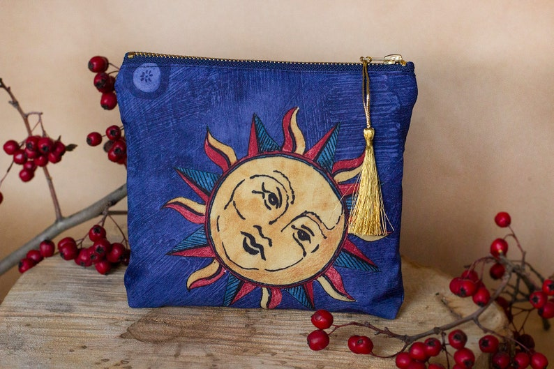 Small zipper pouch in dark blue celestial print image 0