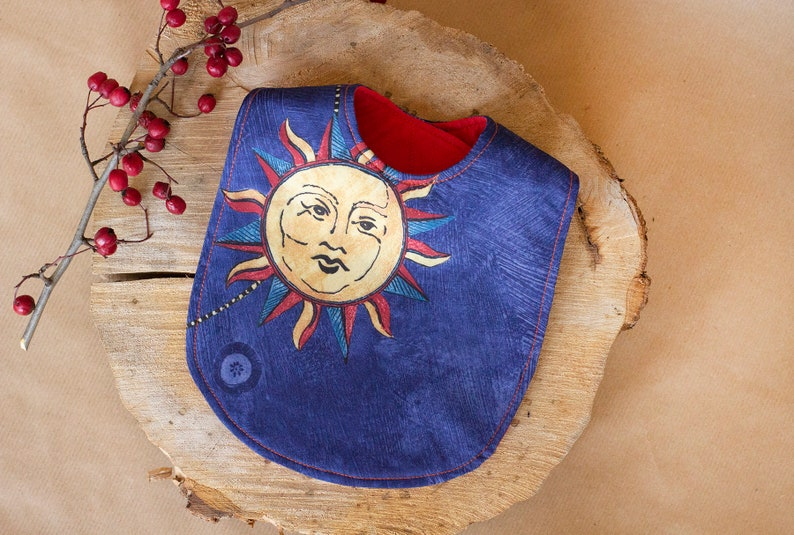 First birthday bib in dark blue celestial print Two sided boy image 0