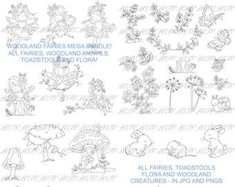 LOTV Digi Stamp Bundle - AS - Fairies and Toadstools, Jpg, Png, Digital, Artwork