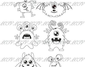 Simply Sweet Stamp Set, Monsters, JPEG, Digital
