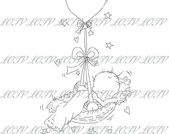 Lotv Digi Stamp - AS - Balloon Basket, Jpg, Baby, New Baby, Birth, Digital, Artwork