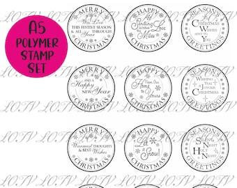 Christmas Circular Sentiments - A5 Polymer Stamp Set -  LOTV Advanced Order