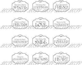 Lili of the Valley Digi Stamp Set - Vintage Labels Just to Say, JPEG, Birthday, Sentiments,  Digital