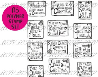 Christmas Grungy Messages - A5 Polymer Stamp Set -  LOTV Advanced Order