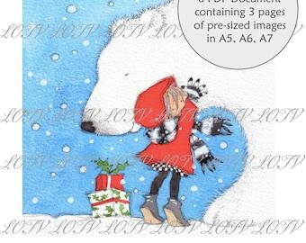 Lili of the Valley Full Colour Simply Print - AS - A Christmas Hug, Christmas, 3 Page PDF, Digital