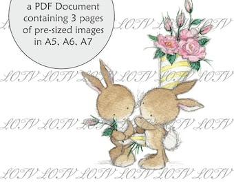 Digital Cute Lili of the Valley Full Colour Simply Print GC Wedding Bears Rose Bower 3 Page PDF Ready to Print Document