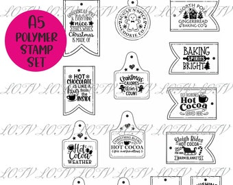 Cocoa and Gingerbread Tags - A5 Polymer Stamp Set - LOTV Advanced Order