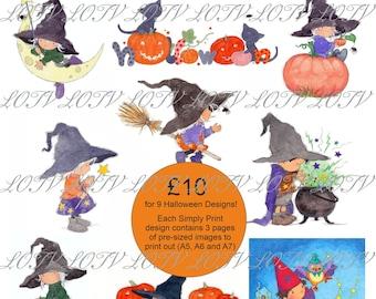 LOTV Full Colour Simply Prints - AS - 9 Halloween Design Bundle! 3 Page PDF, Digital