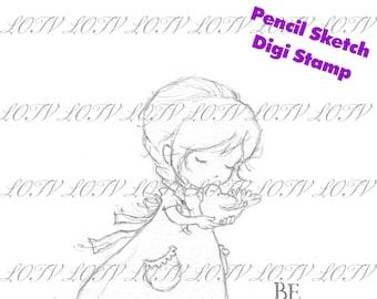 Lili of the Valley Pencil Digi Stamp - AS - Grace - Kindness, Sketch JPEG, Girl, Digital