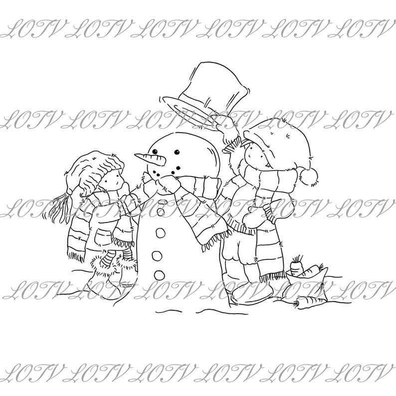 Lili of the Valley Digi Stamp  AS  Winter Fun JPEG PNG image 0
