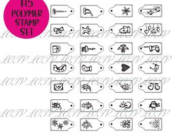 Christmas Mini Image Icon Tags - A5 Polymer Stamp Set -  LOTV Advanced Order