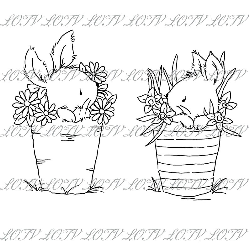 Lili of the Valley Digi Stamp  GC  Two Little Bunnies JPEG image 0