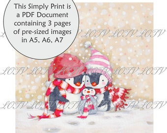 Lili of the Valley Full Colour Simply Print - AS - Penguin Family, Christmas, 3 Page PDF, Digital