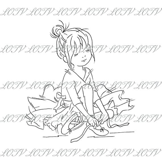 JPEG Lili of the Valley Digi Stamp Cute Digital AS Sweet Artwork Birthday Girl Female Capri Pants