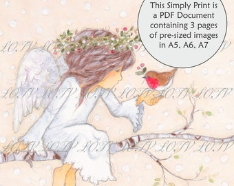 LOTV Full Colour Simply Print - AS - Christmas Angel Kindness, 3 Page PDF, Digital