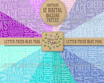 LOTV Backing Paper Set - DR - Festive Letterpress Blue Pink, JPEG, Digital