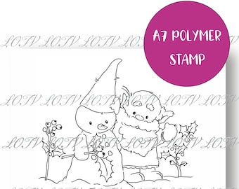 LOTV Polymer Stamp - IH - Festive Gnome and Snowman