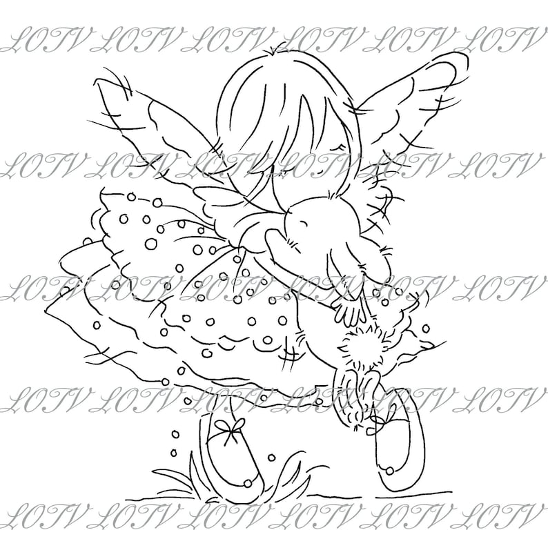 INSTANT DOWNLOAD.  Lili of the Valley Digi Stamp  Fairy Lily image 0