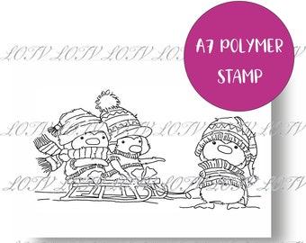 LOTV Polymer Stamp - AS - Sledging Penguins