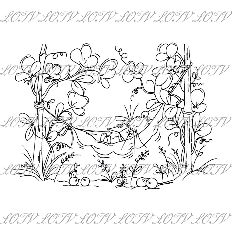 Lili of the Valley Digi Stamp  Sweet Peas JPEG Cute Mouse image 1
