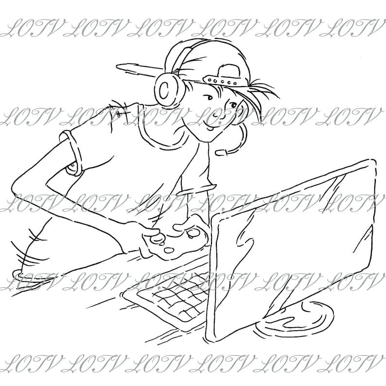 Oliver Game Boy Lili of the Valley Digi Stamp Boys Artwork AS Jpg Digital Male Teenager