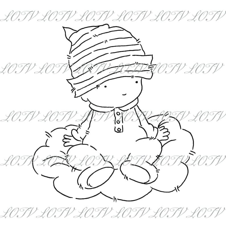 Lotv Digi Stamp  AS  Baby Cloud Jpg Birth Digital Artwork image 0