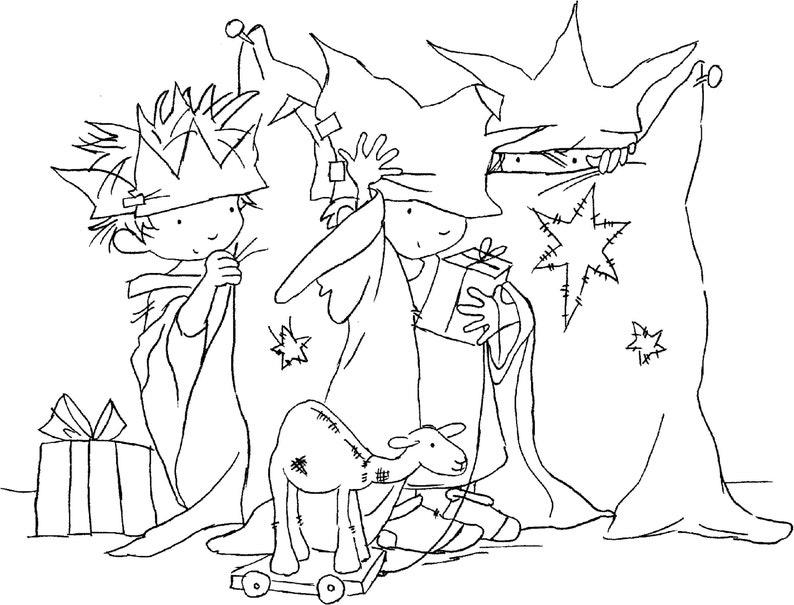 Digital Lili of the Valley Digi Stamp Christmas Cute JPEG Artwork Nativity Three Wee Kings AS